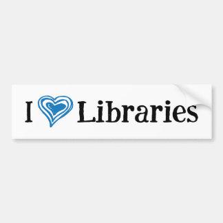 I [Heart] Libraries (white/blue) Bumper Sticker