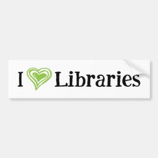 I [Heart] Libraries (white/green) Bumper Sticker