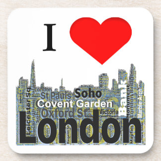 I Heart London Word Art Beverage Coasters