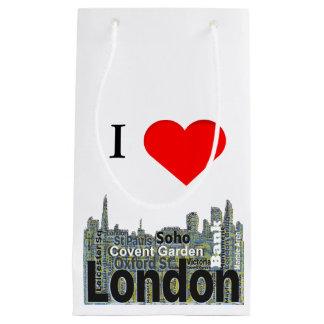 I Heart London Word Art Small Gift Bag