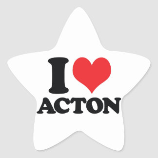 I Heart / love acton Star Sticker