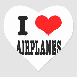 I HEART (LOVE) AIRPLANES HEART STICKER