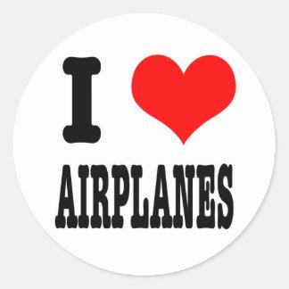 I HEART (LOVE) AIRPLANES ROUND STICKER