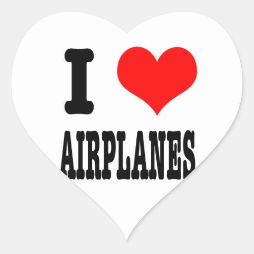 I HEART (LOVE) AIRPLANES HEART STICKER