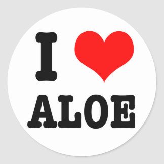 I HEART (LOVE) ALOE CLASSIC ROUND STICKER