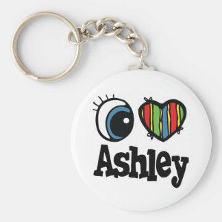 I Heart (Love) Ashley Basic Round Button Key Ring