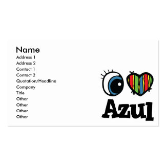 I Heart (Love) Azul Pack Of Standard Business Cards