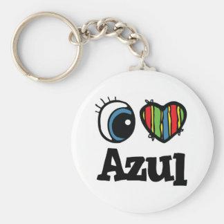 I Heart (Love) Azul Basic Round Button Key Ring