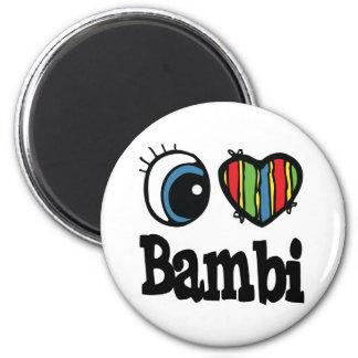 I Heart (Love) Bambi 6 Cm Round Magnet