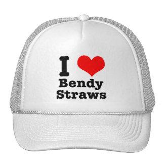I HEART (LOVE) bendy straws Cap