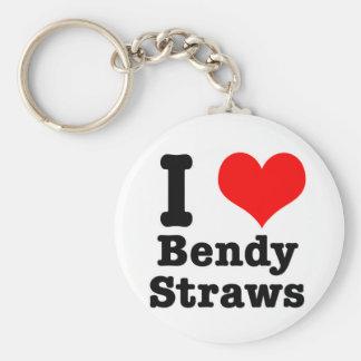 I HEART (LOVE) bendy straws Key Ring