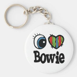 I Heart (Love) Bowie Basic Round Button Key Ring