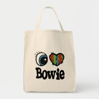 I Heart (Love) Bowie Grocery Tote Bag