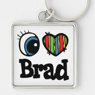 I Heart (Love) Brad Silver-Colored Square Key Ring