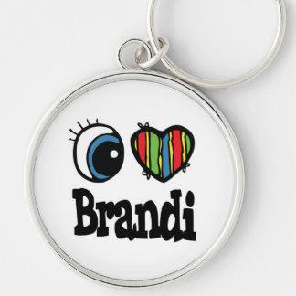 I Heart (Love) Brandi Silver-Colored Round Key Ring