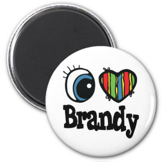 I Heart (Love) Brandy 6 Cm Round Magnet