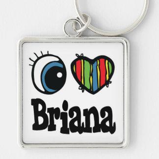 I Heart (Love) Briana Silver-Colored Square Key Ring