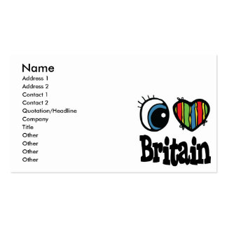 I Heart (Love) Britain Pack Of Standard Business Cards