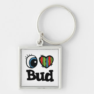I Heart (Love) Bud Silver-Colored Square Key Ring