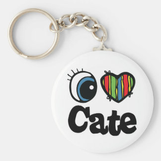 I Heart (Love) Cate Basic Round Button Key Ring