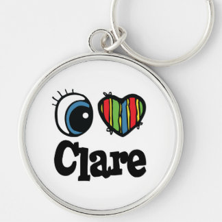 I Heart (Love) Clare Silver-Colored Round Key Ring