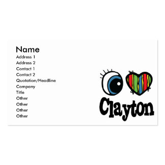 I Heart (Love) Clayton Pack Of Standard Business Cards