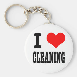 I HEART (LOVE) CLEANING BASIC ROUND BUTTON KEY RING