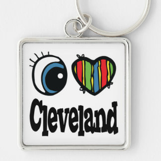 I Heart (Love) Cleveland Silver-Colored Square Key Ring