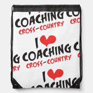 I heart (love) Coaching Cross Country Drawstring Backpack
