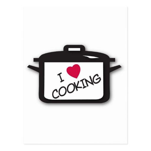 I Heart / Love Cooking Postcard