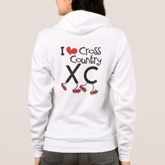 I heart (love) Cross Country Running XC Hoodie