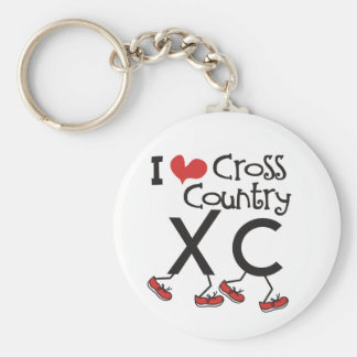 I heart (love) Cross Country Running XC Basic Round Button Key Ring