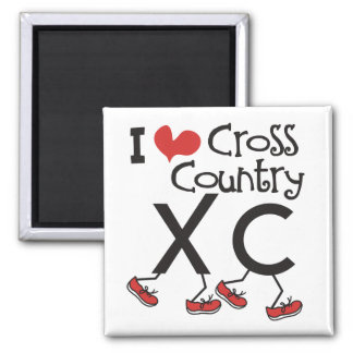 I heart (love) Cross Country Running XC Square Magnet