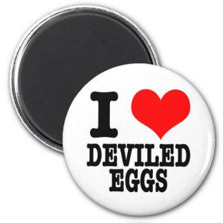 I HEART (LOVE) DEVILED EGGS 6 CM ROUND MAGNET