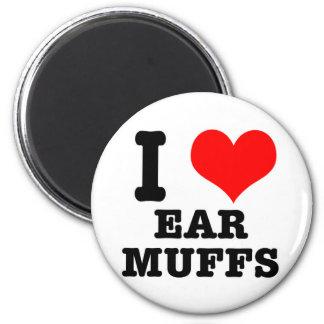 I HEART (LOVE) EAR MUFFS 6 CM ROUND MAGNET