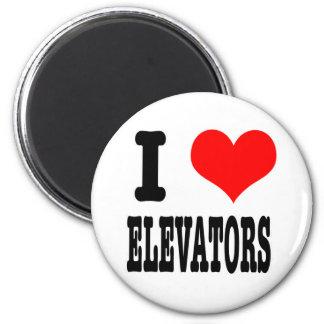 I HEART (LOVE) ELEVATORS 6 CM ROUND MAGNET