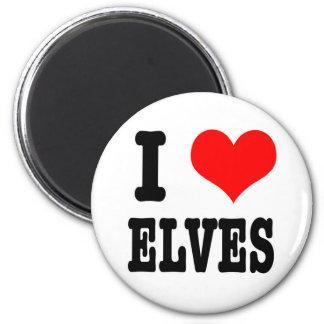 I HEART (LOVE) ELVES 6 CM ROUND MAGNET