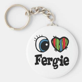 I  Heart (Love) Fergie Basic Round Button Key Ring