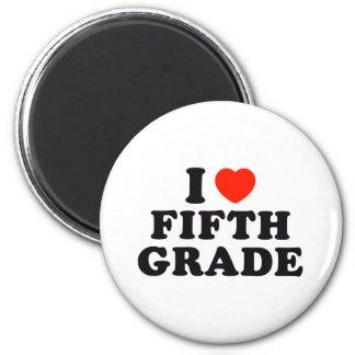 I Heart / Love Fifth Grade 6 Cm Round Magnet