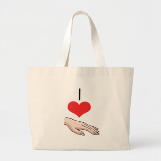 I Heart Love Fingers Hand Canvas Bag