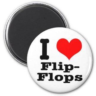 I HEART (LOVE) flip flops 6 Cm Round Magnet