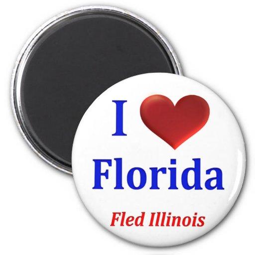 I Heart (Love) Florida Fled Illinois Fridge Magnet