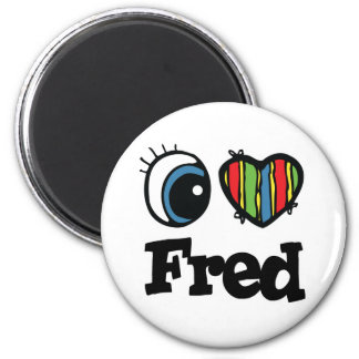 I  Heart (Love) Fred 6 Cm Round Magnet