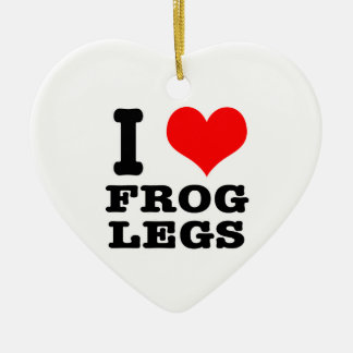 I HEART (LOVE) frog legs Ceramic Ornament