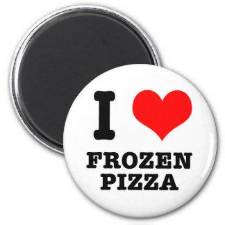 I HEART (LOVE) frozen pizza 6 Cm Round Magnet