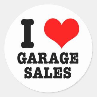 I HEART (LOVE) GARAGE SALES ROUND STICKER