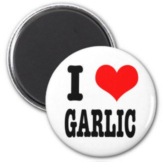 I HEART (LOVE) GARLIC 6 CM ROUND MAGNET