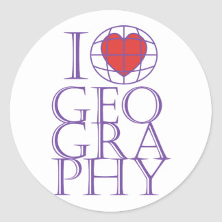 I heart (love) Geography Round Sticker