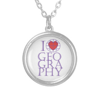 I heart (love) Geography Silver Plated Necklace