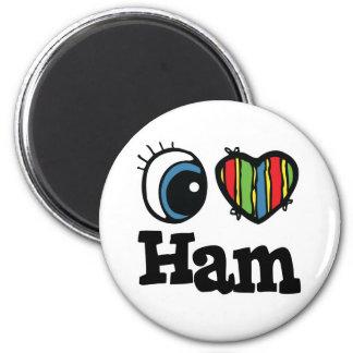 I Heart (Love) Ham 6 Cm Round Magnet